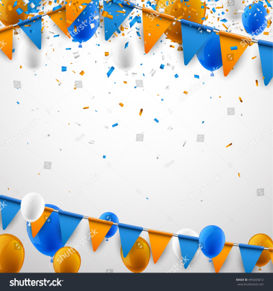 Background Blue Orange Flags Balloons Confetti Stock Vector ...