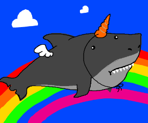 Shark unicorn with wings on a rainbow - Drawception