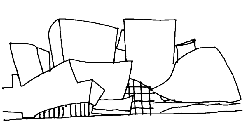 Disney Centre Hall, by Frank Gehry. Drawing by the author ...