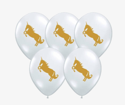 Clear Gold Unicorn Balloon - Unicorn - 11 Inch Balloons 25pcs ...