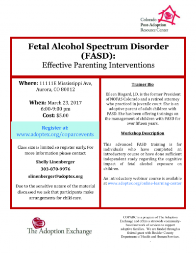 Fetal Alcohol Spectrum Disorder (FASD) Effective Parenting ...
