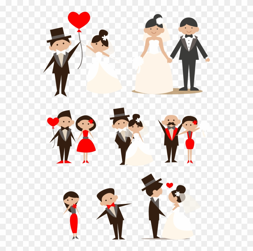 Cartoon Couple Hand Drawn Bride And Groom - Png Wedding Cartoon ...