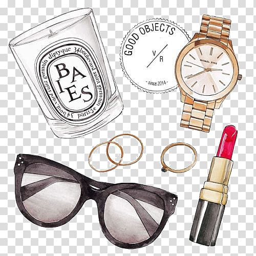 Sunglasses, watch, and lipstick illustration, Fashion accessory ...