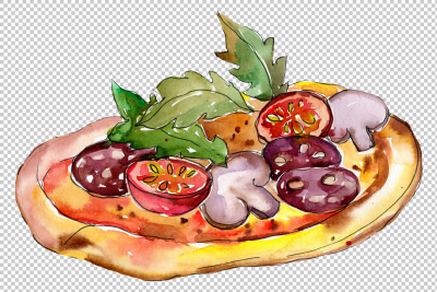 Tasty Italian pizza PNG watercolor set By MyStocks | TheHungryJPEG.com