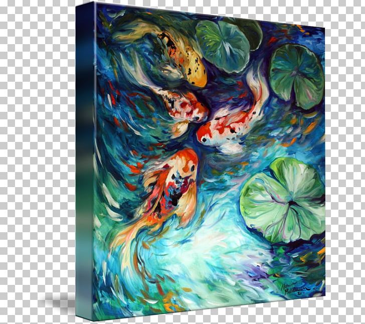 Koi Painting Water Lilies Canvas Print PNG, Clipart, Abstract Art ...