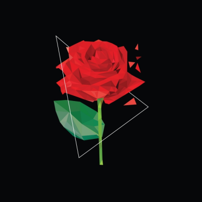 Romantic Red Rose Low Poly Style On Black Background, Rose ...