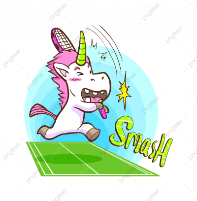 Cute Unicorn Play Tennis, Unicorn, Cute, Design PNG and Vector ...