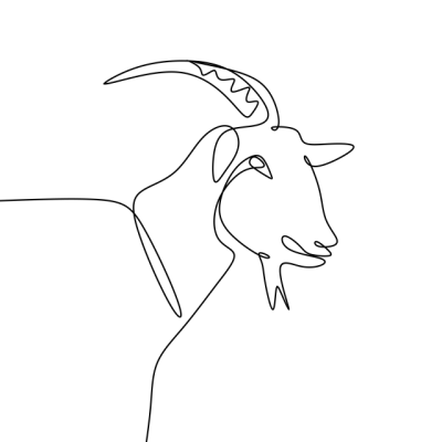 One Line Drawing Of Goat Continuous Style Design, Goat, Art, Wild ...