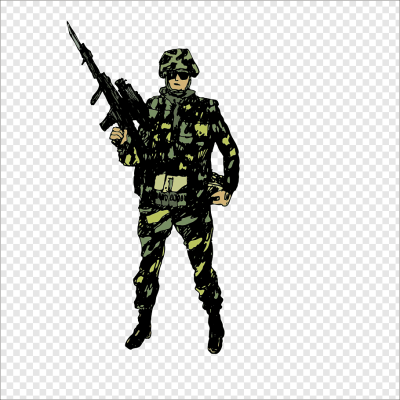 Military officer holding rifle illustration, Military Soldier ...