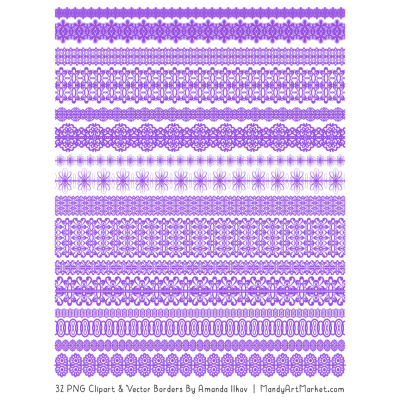 Purple Digital Lace Borders Clipart #1325816 - PNG Images - PNGio