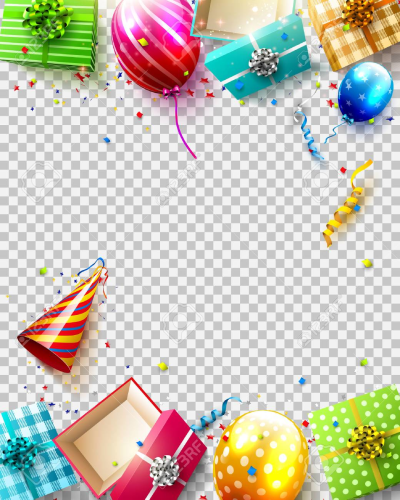 Birthday Balloons, Gifts And Confetti On Transparent Background ...
