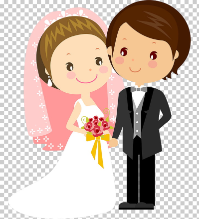 Wedding invitation Bridegroom Cartoon, wedding couple, smiling ...