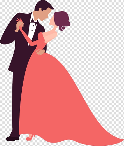 Bride and groom dancing illustration, Wedding invitation ...