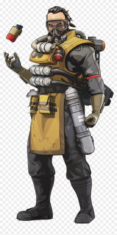 Caustic - Caustic Apex Legends, HD Png Download - 853x1671 ...