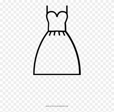 Wedding Dress Coloring Page - Line Art, HD Png Download ...