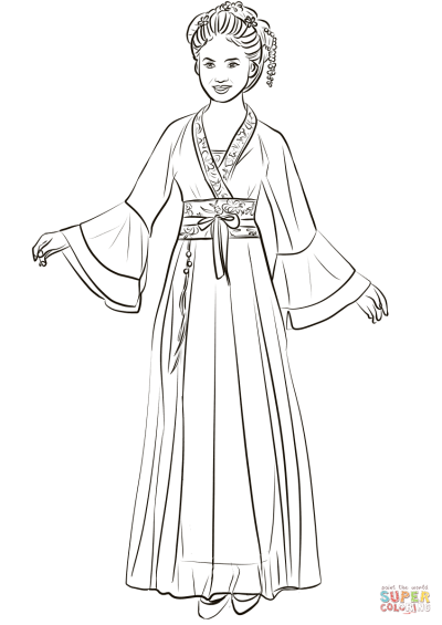 Chinese Wedding Dress Coloring Page in 2019 | Wedding dress ...