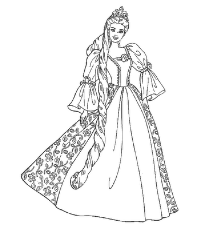The Wedding Dresses Princess Coloring Sheet to Print | choosboox