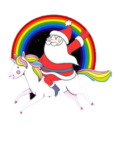 Santa On Unicorn PNG Pic