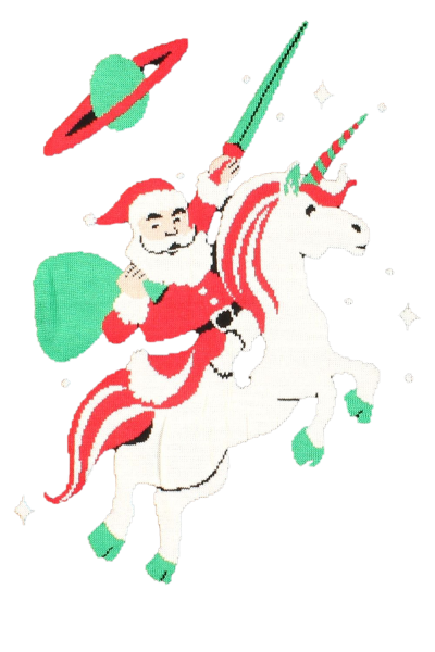 Santa On Unicorn PNG Image