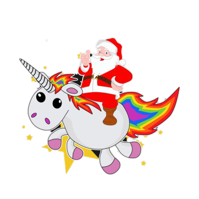 Santa On Unicorn PNG File