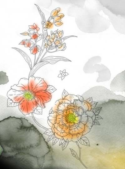 watercolor flowers series psd layered 177385
