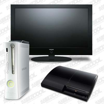 lcd tv ps3 xbox360 game console icon psd layered 176620
