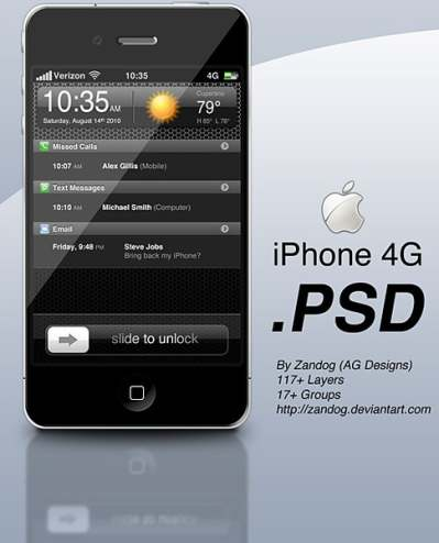 apple iphone 4g psd layered 177247