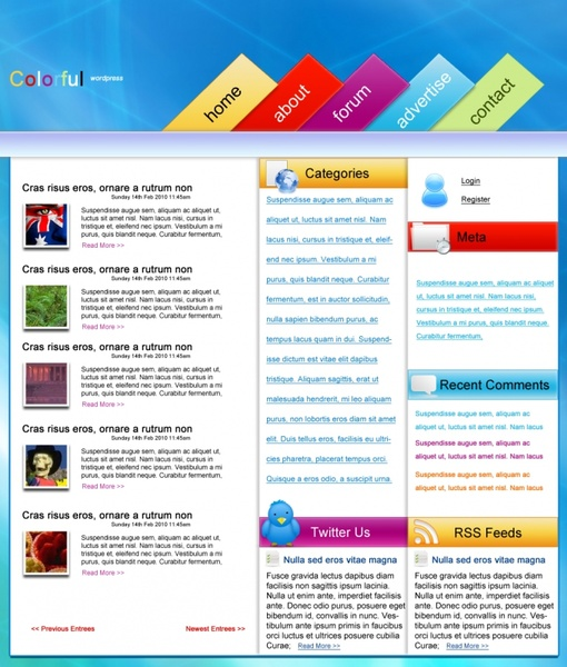 colourful wordpress 8211 free psd template 213689