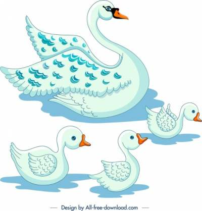 swans flock painting colored cartoon sketch 6839422