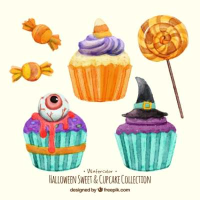 watercolor cakes and candies halloween 936723
