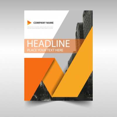 geometric business brochure with orange shapes 1064943