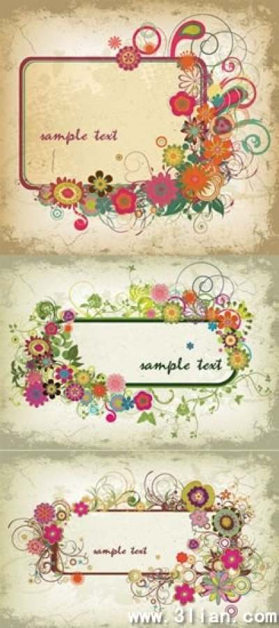 floral frames templates colorful classical retro decor 288694