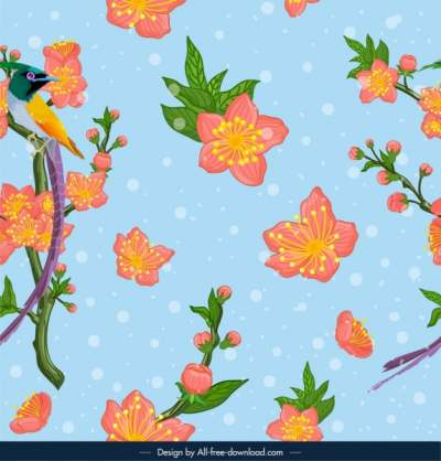 nature pattern cherry blossom bird icons colorful design 6840094