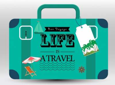 travel promotion banner green suitcase tourist icons decor 6830264