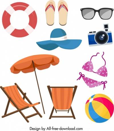 summer design elements sea objects icons 6839964