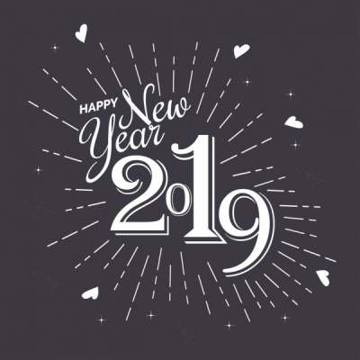 2019 new year poster black white calligraphic decor 6836193