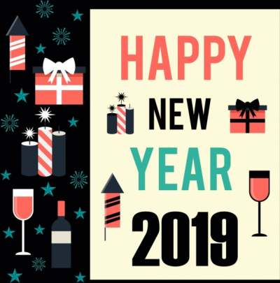 2019 new year poster gift wineglass candle icons 6836194