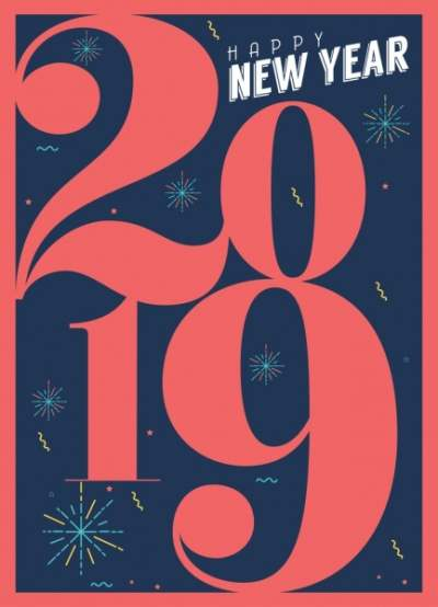 2019 new year poster red numbers fireworks decor 6836803