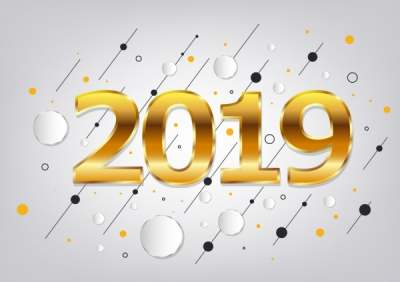 2019 new year background yellow number circles decor 6836887
