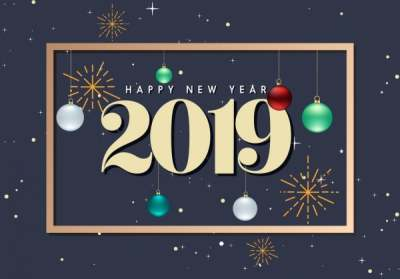 2019 new year poster number bauble fireworks decor 6836800