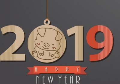 2019 new year poster flat number pig icons 6836888