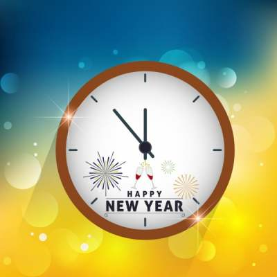 new year background round clock icon decoration 6830047