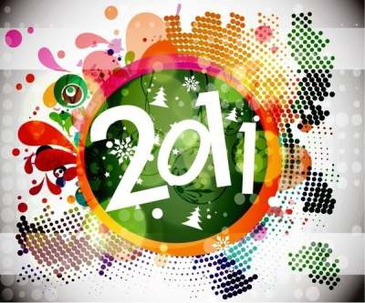 2011 new year floral backgound vector graphic 148215