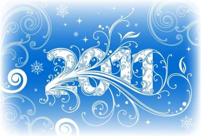 2011 new year background blue white curves sketch 289156