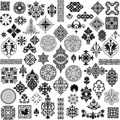 pattern design elements collection black white retro symmetry 289011