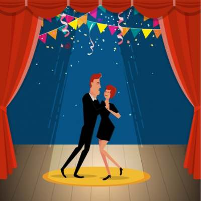 dancing couple icon classical stage background cartoon style 6829766