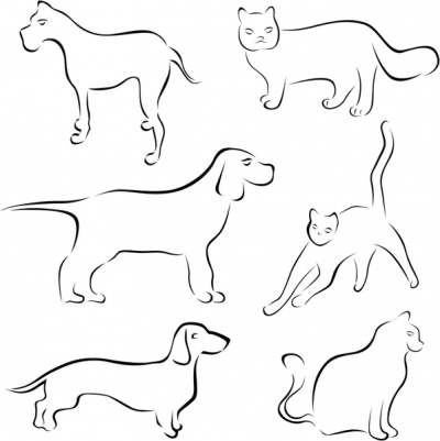 dog cat icons flat handdrawn sketch 289115
