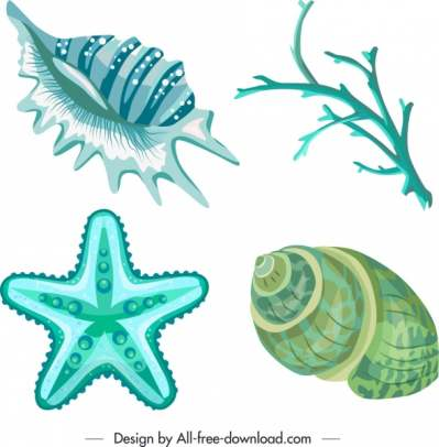 marine species icons blue shell coral starfish sketch 6840537