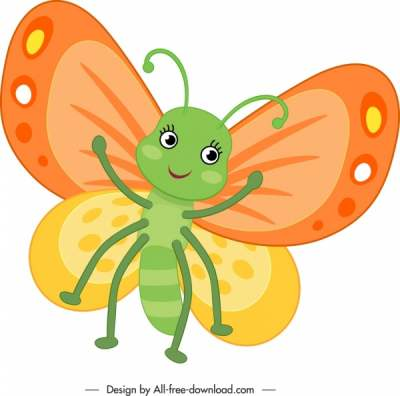 butterfly icon cute stylized cartoon character sketch 6840706