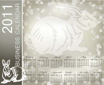 2011 calendar template rabbit icon grey bokeh decor 289094